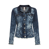Jeansjacke mit Floralprint, dark denim