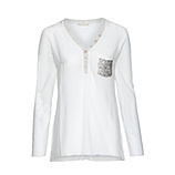 Basic Shirt mit Pailletten, offwhite