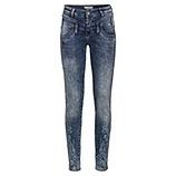 Used-Jeans mit Floralprint 82cm, denim