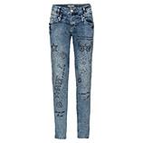 Jeans mit Prints und Ziersteinen, denim