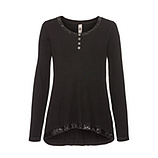 Basic Shirt mit Pailletten, schwarz