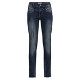 Used-Jeans mit Glitzersteinen, denim