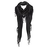 Schal mit floraler Spitze, schwarz