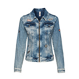 Jeansjacke mit Patches, denim