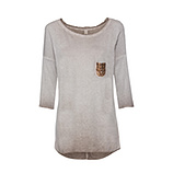 Basic Shirt mit Pailletten 1/2 Arm, treibholz