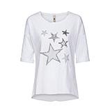 Tunikashirt mit Sternen 1/2 Arm, weiß