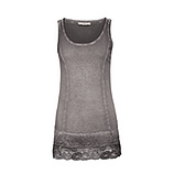 Basic Top mit Spitze 76cm, taupe