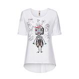 Tunikashirt mit Roboter 1/2 Arm, weiß