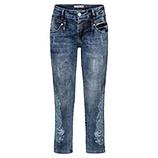 Jeans mit Paisleyprint, 64 cm Länge, denim