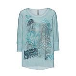 Oversized Tüll-Shirt mit Printmotiv, ozean