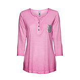 Basic Shirt mit Pailletten 3/4 Arm, baby pink