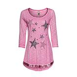 Langshirt mit Sternen 3/4 Arm, baby pink