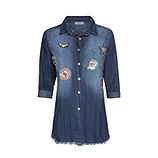 Bluse mit Patches 3/4 Arm, denim