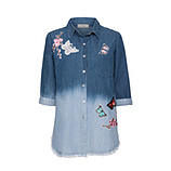 Bluse mit Patches 3/4 Arm, light blue