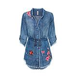 Jeansbluse mit Blüten 3/4 Arm, light blue