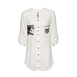 Bluse mit Pailletten-Design, offwhite