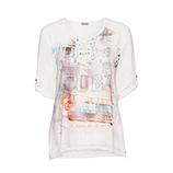 Blusenshirt mit Alloverprint-Front, offwhite