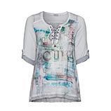 Blusenshirt mit Alloverprint-Front, silber