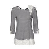 Shirt mit Floral-Design 3/4 Arm, marine-offwhite
