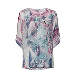 Bluse im Alloverprint, magenta