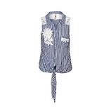 Bluse mit Spitze, blau-weiß