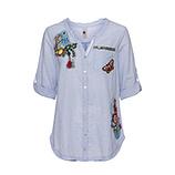 Bluse mit Floral-Stickerei 3/4 Arm, blau-weiß