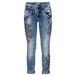 Jeans mit Blumenprint 72cm, denim