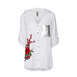 Kapuzenbluse im Floral-Design, weiß