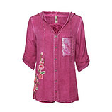 Kapuzenbluse im Floral-Design, magenta