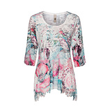 Blusenshirt mit Floral-Design 3/4 Arm, opal