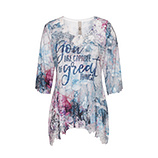 Blusenshirt mit Floral-Design 3/4 Arm, denim
