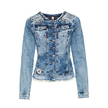 Jeansjacke mit Floral-Design, denim