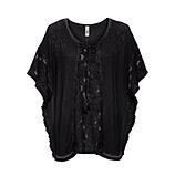 Oversized Shirt mit Spitze, schwarz
