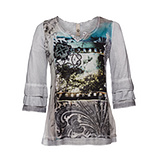 Blusenshirt mit Alloverprint-Front, silver
