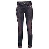 Jeans mit Glitzersteinen und floralen Applikationen, denim
