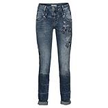 Jeans mit Floralstickerei 80cm, denim