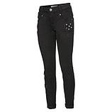 Jeans mit Spitzenapplikationen, schwarz
