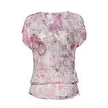 Transparente Bluse mit Spitze, plum