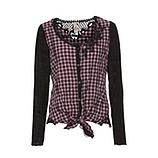 Bluse im Karo-Style, schwarz