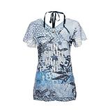 Spitzen-Shirt im Alloverprint, blau