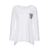 Basic Shirt mit Spitze, weiß