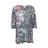 Oversized Shirt mit Schmucksteinen 3/4 Arm, schwarz