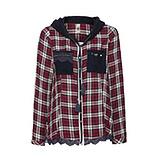 Bluse im Karo Style mit Kapuze, bordeaux