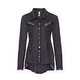 Shirtjacke mit Spitze und Schnürung, deep violet
