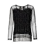 Transparentes Blusenshirt, schwarz