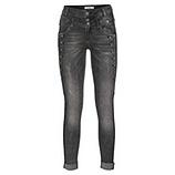 Jeans-Pant mit Zierknöpfen, schwarz