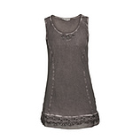 Basic Top mit Spitze, taupe