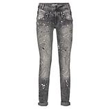 Jeans mit Farbklecksen und glitzernder Pusteblume, grau