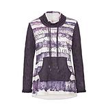 Streifen-Sweatshirt mit Stern-Muster, deep violet