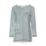 Basic Shirt mit Ziersteinen, grau-blau stone washed
